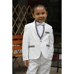 White Polyester Ring Bearer Suit - 5 Pieces