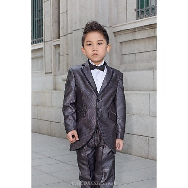 Black / Silver Polyester Ring Bearer Suit - 5 Pieces Flower Girl Dresses