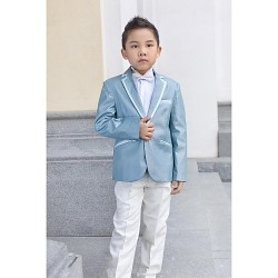 Light Sky Blue Polyester Ring Bearer Suit 5 Pieces
