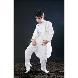 White Polyester Ring Bearer Suit 5 Pieces