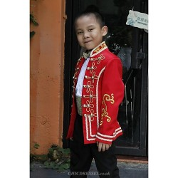 Red Polyester Ring Bearer Suit 5 Pieces