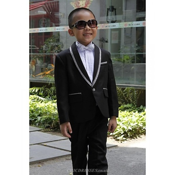 Black Polyester Ring Bearer Suit - 5 Pieces Flower Girl Dresses