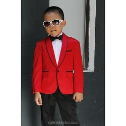 Red Polyester Ring Bearer Suit - 5 Pieces