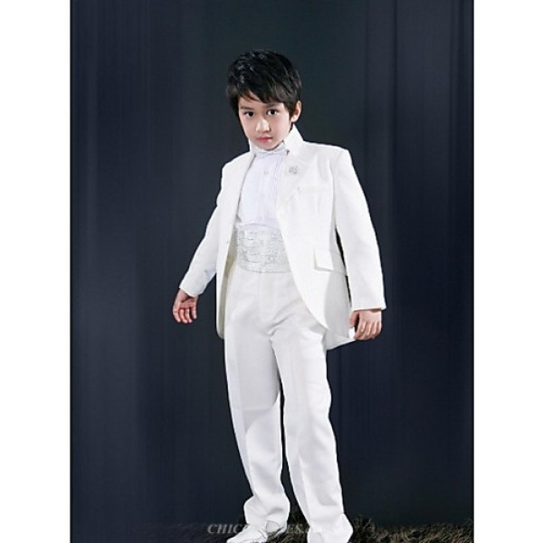White Polyester Ring Bearer Suit - 5 Pieces Flower Girl Dresses