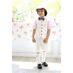 White Polyester Ring Bearer Suit 4 Pieces