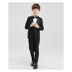 Black White Polyester Ring Bearer Suit 4 Pieces