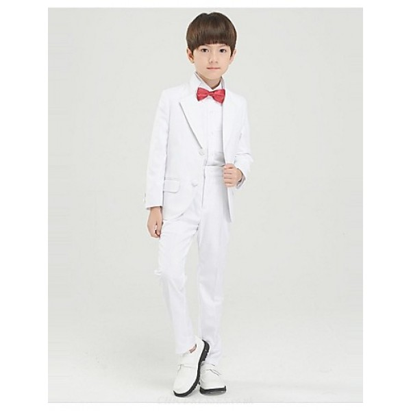 White Polyester Ring Bearer Suit - 4 Pieces Flower Girl Dresses