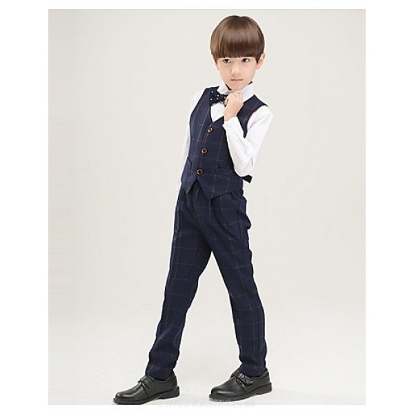 Black / Dark Navy / Red Polyester Ring Bearer Suit - 4 Pieces Flower Girl Dresses