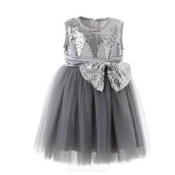 Ball Gown Knee Length Flower Girl Dress Cotton Organza Satin Sleeveless