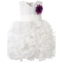Girl White Sleeveless Flower Girl Dresses
