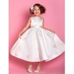 Sheath/Column Tea-length Flower Girl Dress - Satin/Tulle Sleeveless Flower Girl Dresses