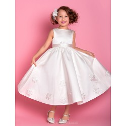 Sheath Column Tea Length Flower Girl Dress Satin Tulle Sleeveless