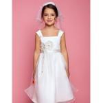 A-line Knee-length Flower Girl Dress - Organza/Satin Sleeveless Flower Girl Dresses