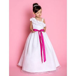 A-line/Princess Floor-length Flower Girl Dress - Organza Sleeveless