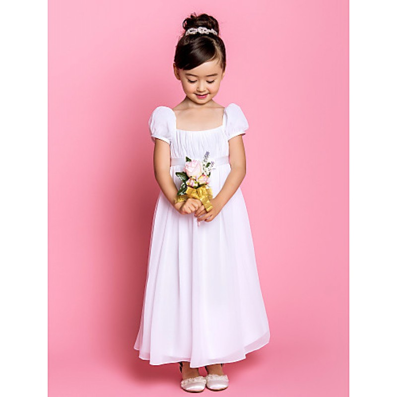 7e12a76ee28 Sheath Column Ankle-length Flower Girl Dress - Chiffon Short Sleeve Flower  Girl Dresses