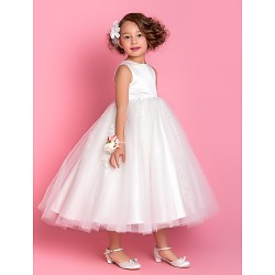 A Line Princess Tea Length Flower Girl Dress Satin Tulle Sleeveless