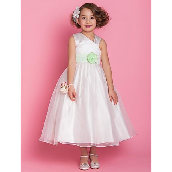 A-line/Princess Tea-length Flower Girl Dress - Organza/Satin Sleeveless Flower Girl Dresses