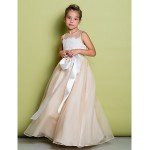 A-line Floor-length Flower Girl Dress - Lace / Organza Sleeveless Flower Girl Dresses