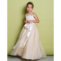 A Line Floor Length Flower Girl Dress Lace Organza Sleeveless