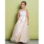 A-line Floor-length Flower Girl Dress - Lace / Organza Sleeveless Flower Girl Dresses