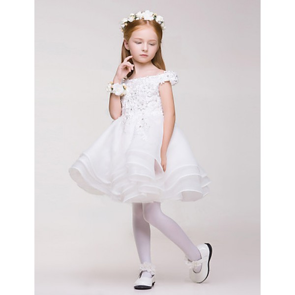 Flower Girl Dress Knee-length Lace/Organza/Polyester A-line Sleeveless Dress Flower Girl Dresses