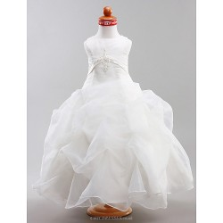 Ball Gown Floor Length Flower Girl Dress Satin Organza Sleeveless