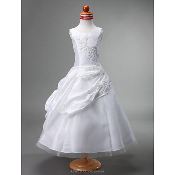 Ball Gown Tea-length Flower Girl Dress - Tulle/Taffeta Sleeveless Flower Girl Dresses