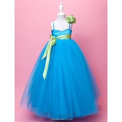 Ball Gown A Line Floor Length Flower Girl Dress Satin Tulle Sleeveless