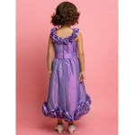 A-line/Princess Tea-length Flower Girl Dress - Taffeta Sleeveless Flower Girl Dresses