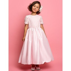 A Line Princess Ankle Length Flower Girl Dress Taffeta Lace Short Sleeve