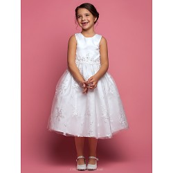 A Line Tea Length Flower Girl Dress Satin Lace Sleeveless