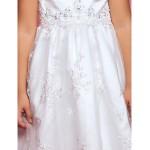 A-line Tea-length Flower Girl Dress - Satin/Lace Sleeveless Flower Girl Dresses