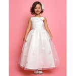 A-line/Princess Ankle-length Flower Girl Dress - Tulle/Satin Sleeveless Flower Girl Dresses