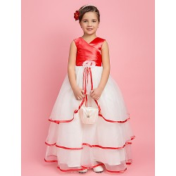 A-line/Princess/Ball Gown Floor-length Flower Girl Dress - Organza/Stretch Satin Sleeveless