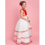 A-line/Princess/Ball Gown Floor-length Flower Girl Dress - Organza/Stretch Satin Sleeveless Flower Girl Dresses