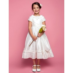 A-line/Princess Tea-length Flower Girl Dress - Taffeta Short Sleeve