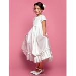 A-line/Princess Tea-length Flower Girl Dress - Taffeta Short Sleeve Flower Girl Dresses