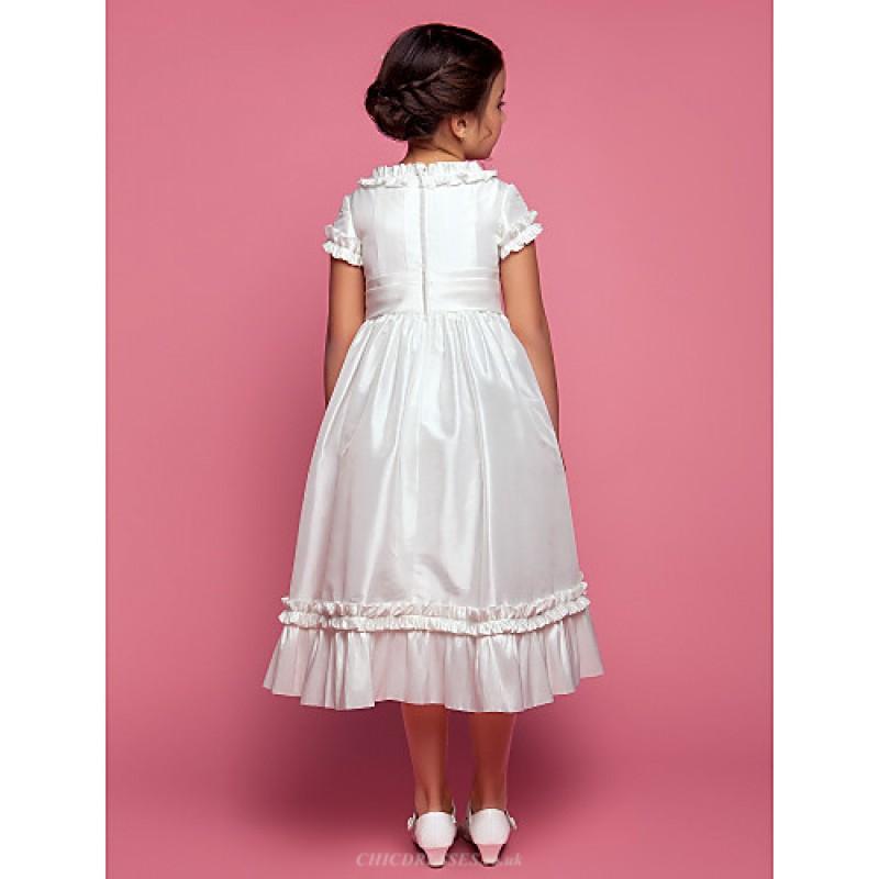a1b6ff179f0b A-line Princess Tea-length Flower Girl Dress - Taffeta Short Sleeve ...