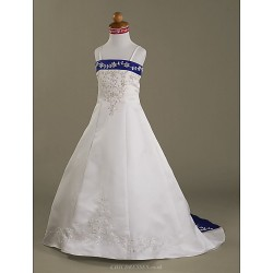 A Line Princess Court Train Flower Girl Dress Satin Sleeveless