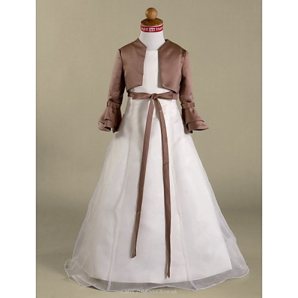 A-line/Princess Floor-length Flower Girl Dress - Satin/Organza Long Sleeve Flower Girl Dresses