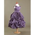 Ball Gown Tea-length Flower Girl Dress - Satin Sleeveless Flower Girl Dresses