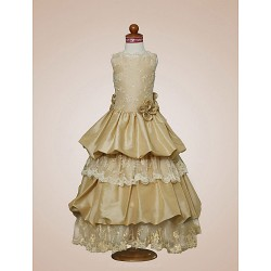 A Line Princess Floor Length Flower Girl Dress Satin Taffeta Sleeveless