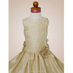 A-line/Princess Floor-length Flower Girl Dress - Satin/Taffeta Sleeveless Flower Girl Dresses