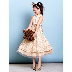 Tea Length Lace Junior Bridesmaid Dress Champagne A Line Jewel