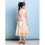 Tea-length Lace Junior Bridesmaid Dress - Champagne A-line Jewel Junior Bridesmaid Dresses