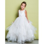 A-line Floor-length Flower Girl Dress - Organza / Satin Sleeveless Flower Girl Dresses