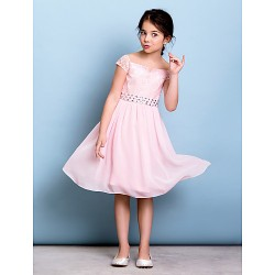 Knee-length Chiffon / Lace Junior Bridesmaid Dress - Blushing Pink A-line Off-the-shoulder