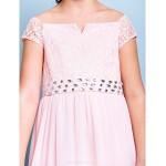 Knee-length Chiffon / Lace Junior Bridesmaid Dress - Blushing Pink A-line Off-the-shoulder Junior Bridesmaid Dresses