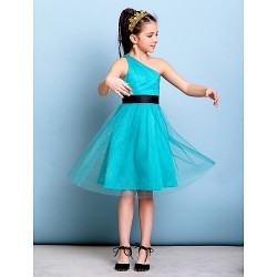 Knee-length Tulle Junior Bridesmaid Dress - Jade A-line One Shoulder