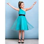 Knee-length Tulle Junior Bridesmaid Dress - Jade A-line One Shoulder Junior Bridesmaid Dresses